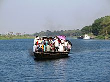 crossing the jalangi river at Mayapur.